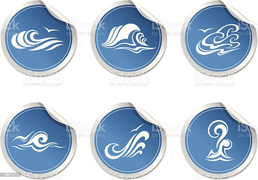 sticker with symbol  wave royalty-free stock vector art