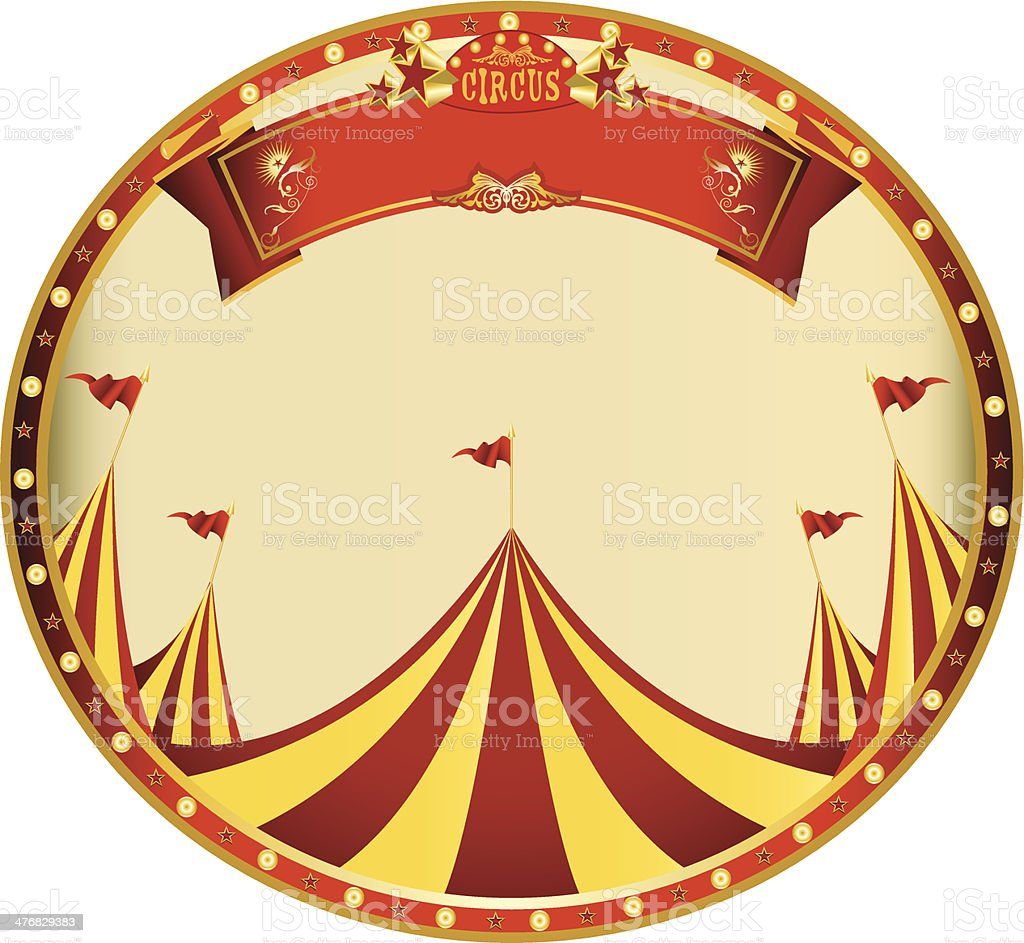 Sticker yellow red circus royalty-free stock vector art
