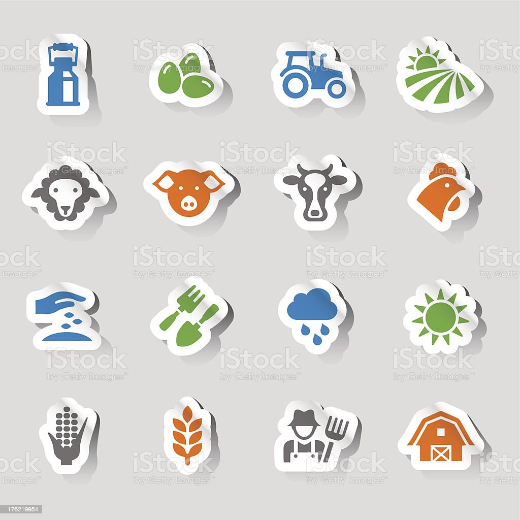 Stickers - Agriculture and Farming icons vector art illustration