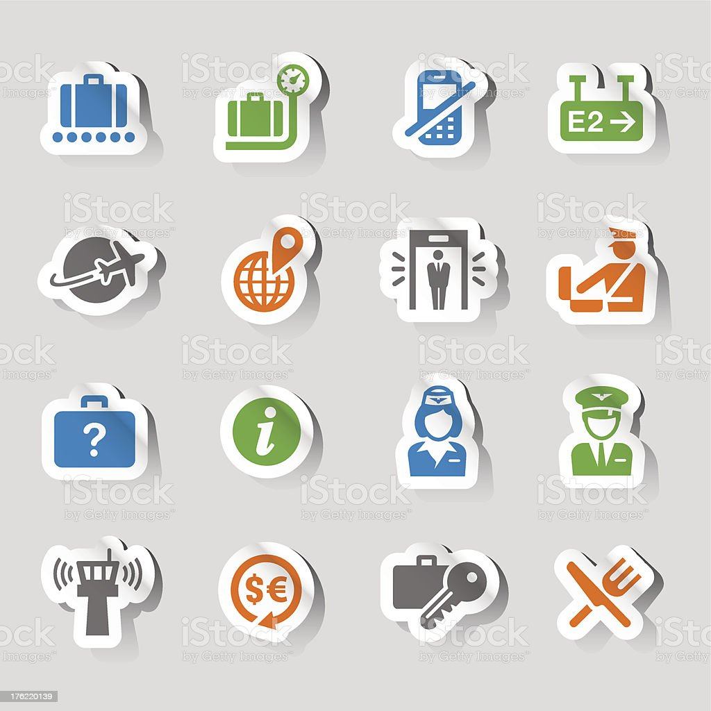 Stickers - Airport and Travel icons royalty-free stock vector art