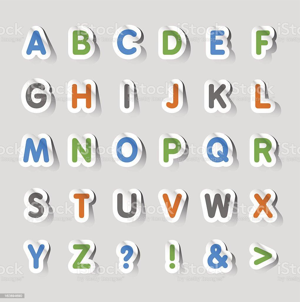Stickers - Alphabet royalty-free stock vector art