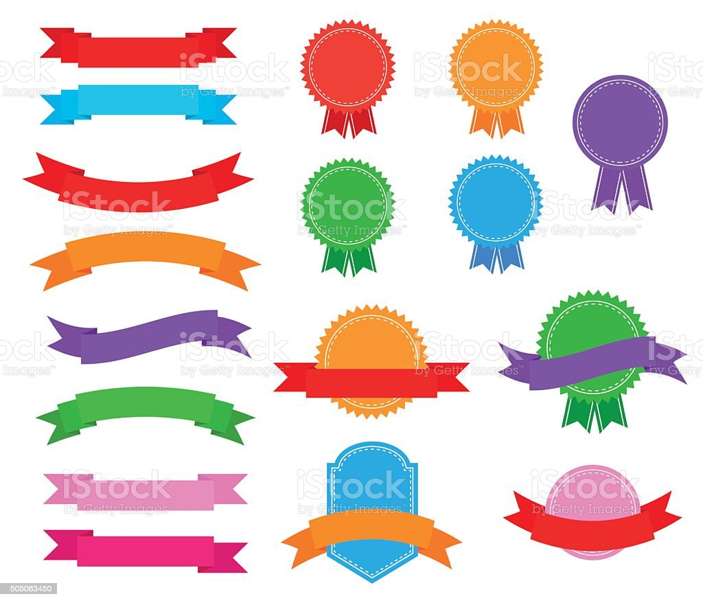 Stickers badges and ribbons vector art illustration