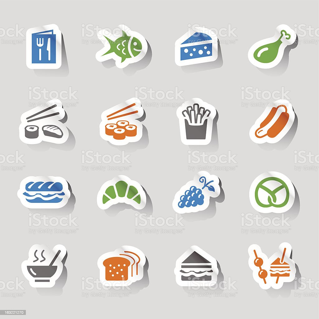Stickers - food and restaurant icons royalty-free stock vector art