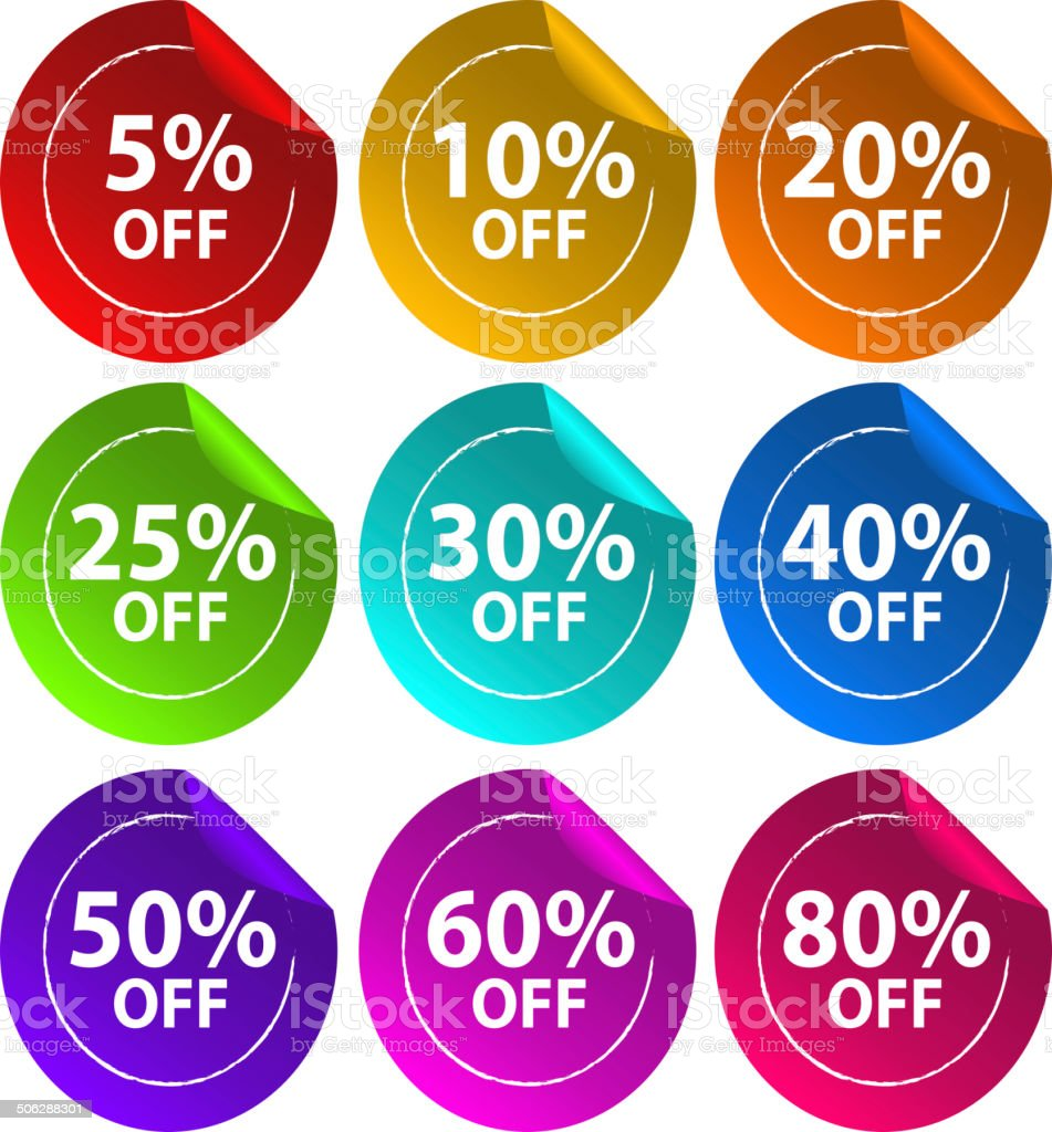 Stickers for discount offers vector art illustration