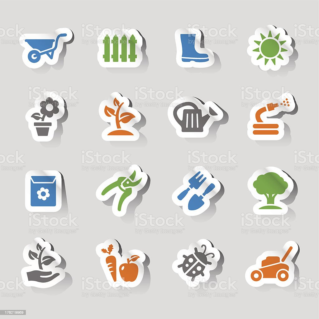 Stickers - Gardening icons royalty-free stock vector art