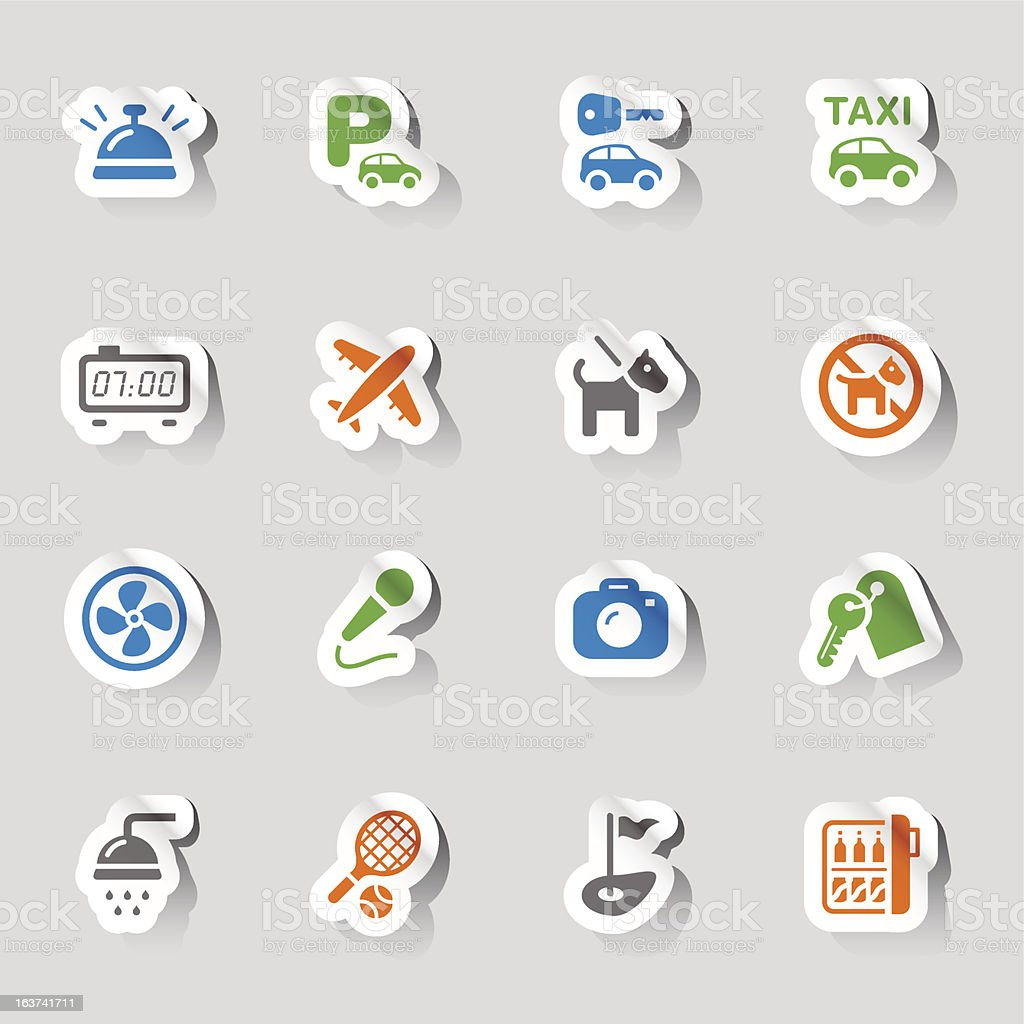 Stickers - Hotel and Resort Icons royalty-free stock vector art