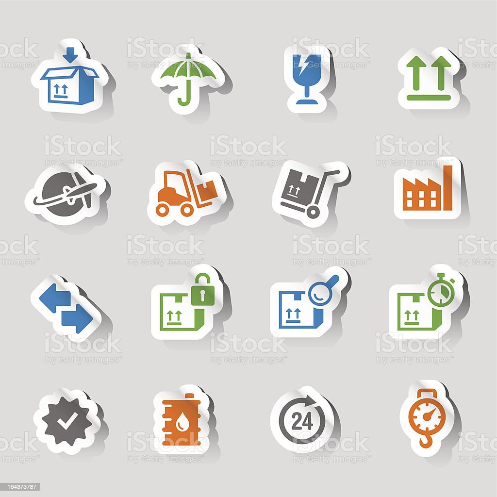 Stickers - Logistic and Shipping icons vector art illustration