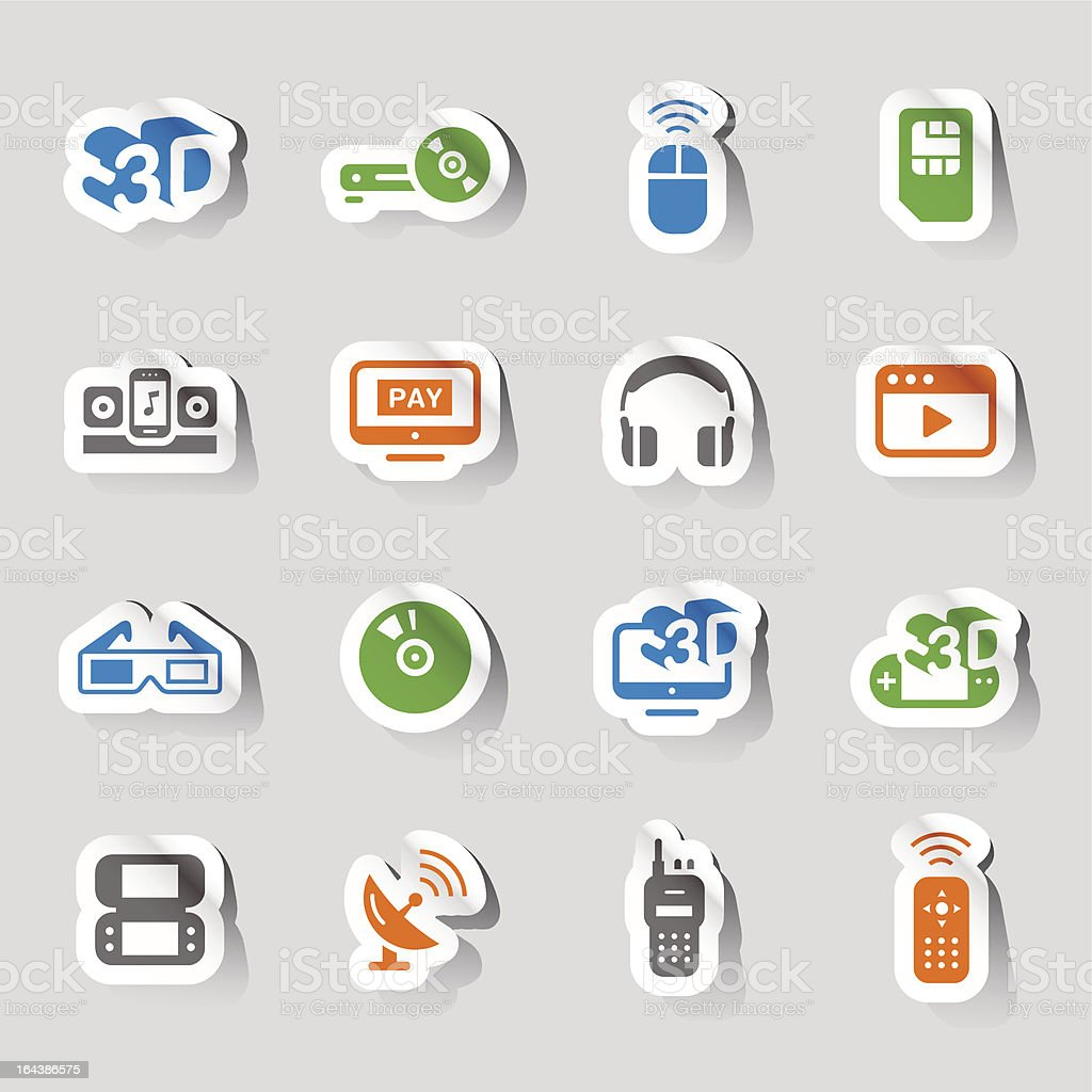 Stickers - Media and Technology Icons vector art illustration