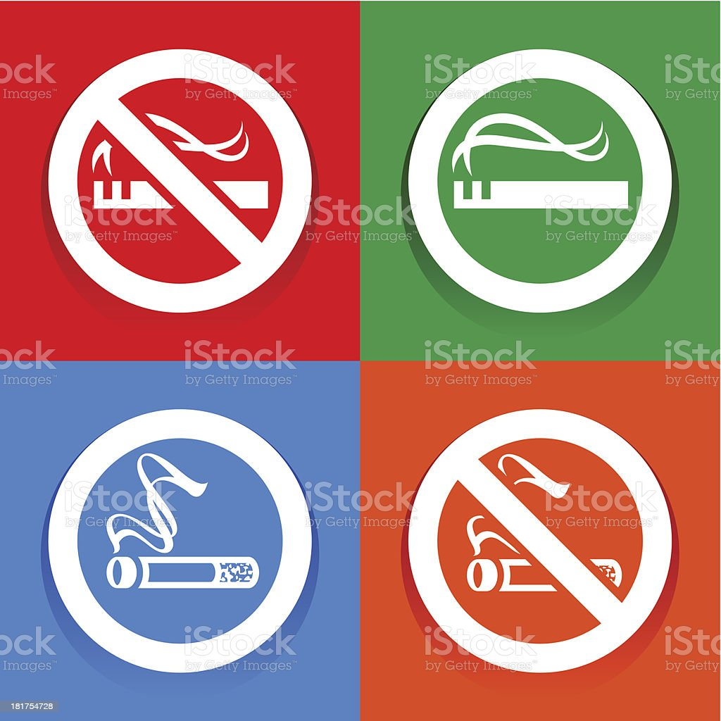 Stickers multicolored. No smoking area labels royalty-free stock vector art