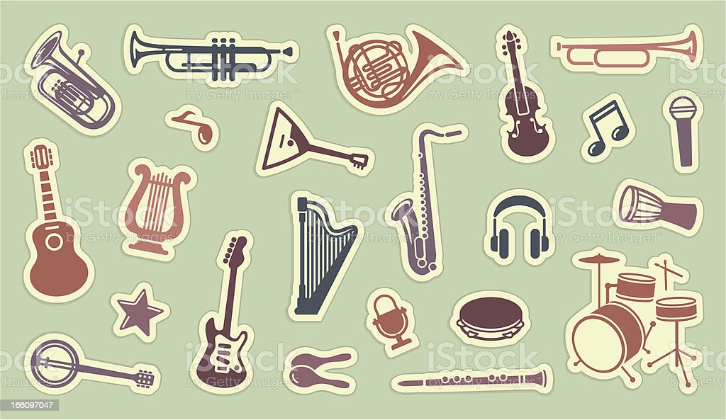 Stickers of musical instruments on green vector art illustration