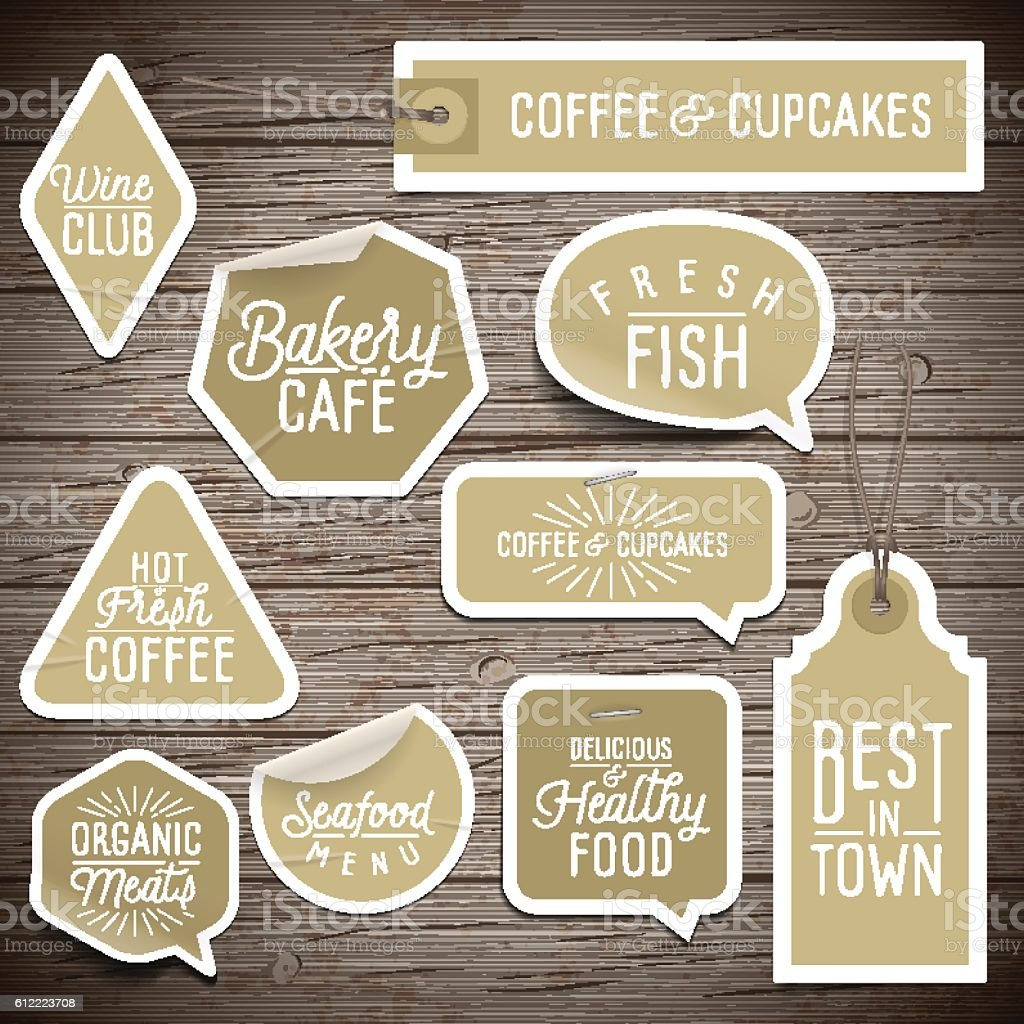 Stickers on rustic wood background for cafe and restaurant vector art illustration