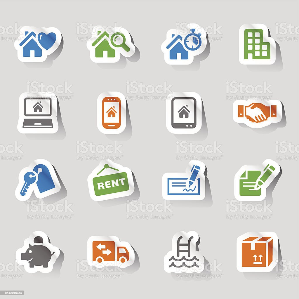 Stickers - Real Estate Icons royalty-free stock vector art