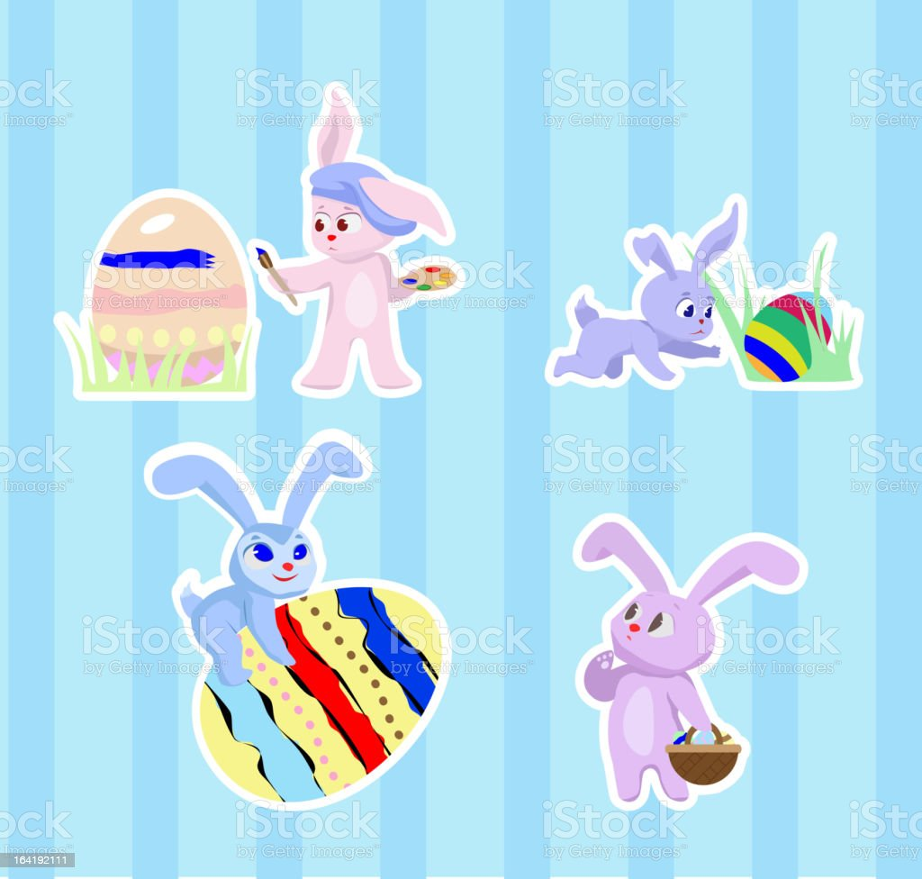 stickers with rabbits royalty-free stock vector art