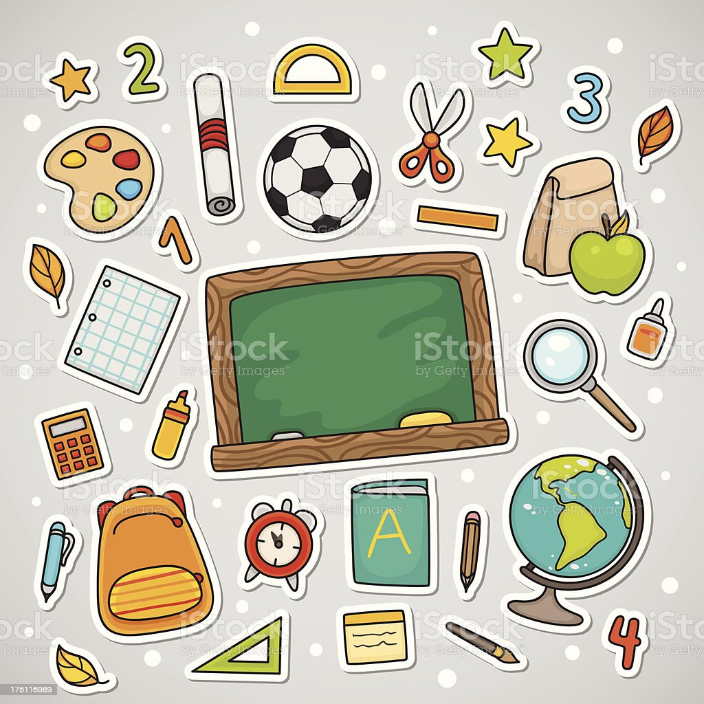 Stickers with school supplies royalty-free stock vector art