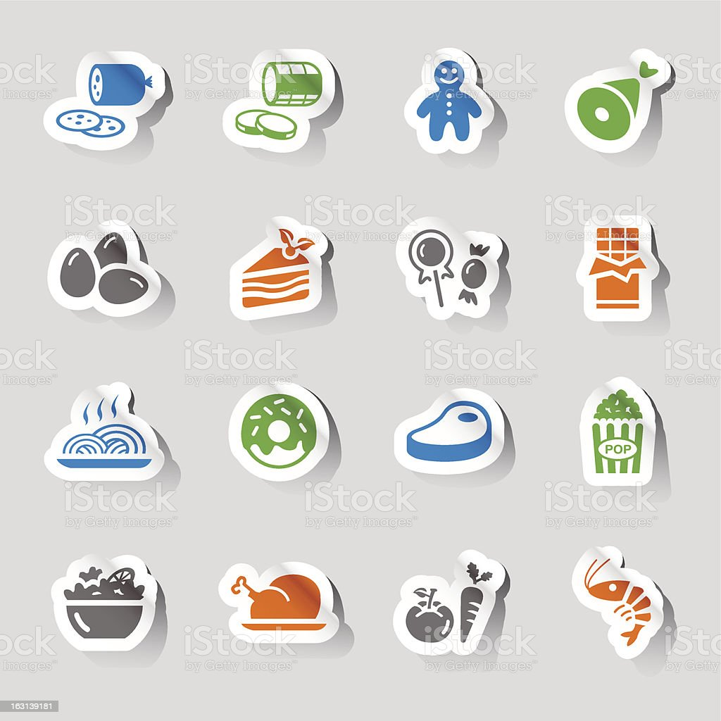 Stickers with stylized food and restaurant icons royalty-free stock vector art