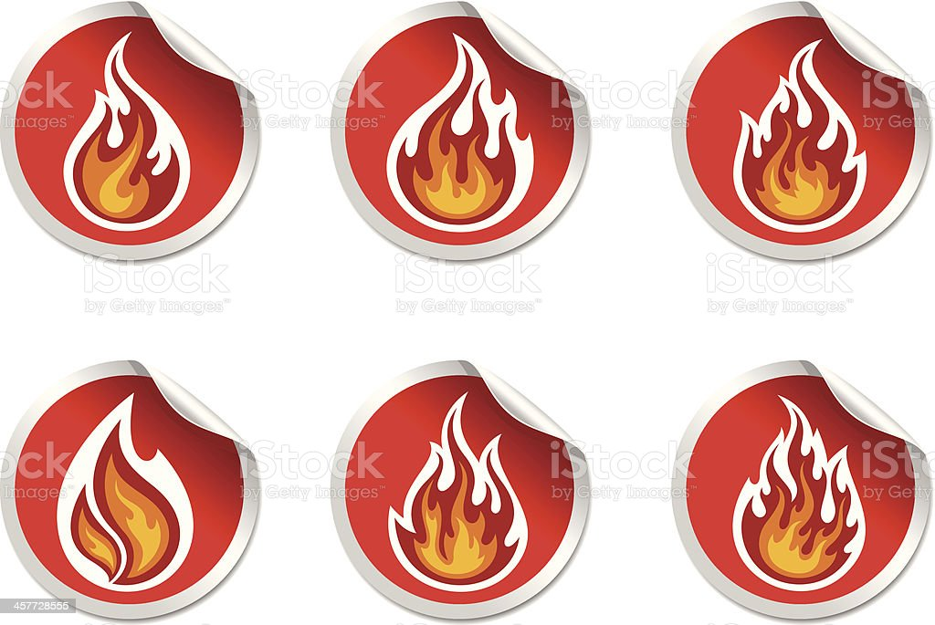 stickers with symbol  flame royalty-free stock vector art