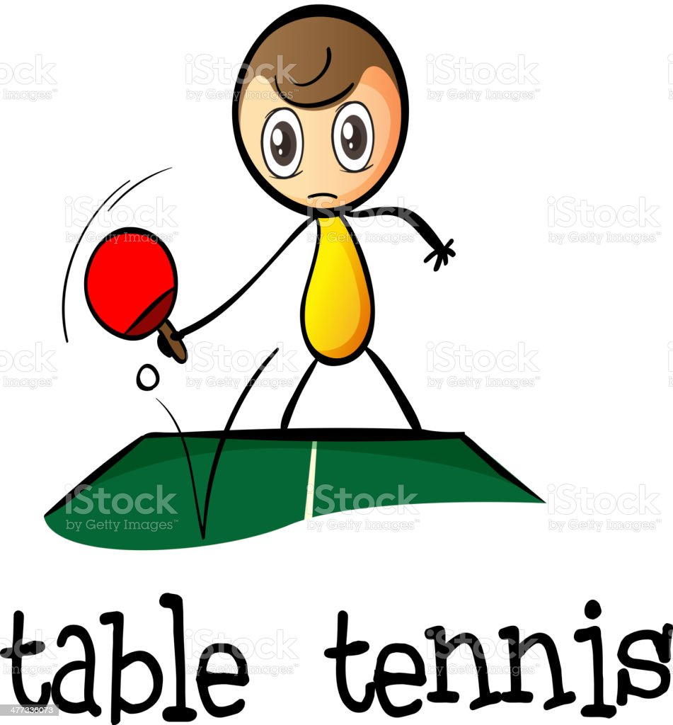 stickman playing table tennis royalty-free stock vector art