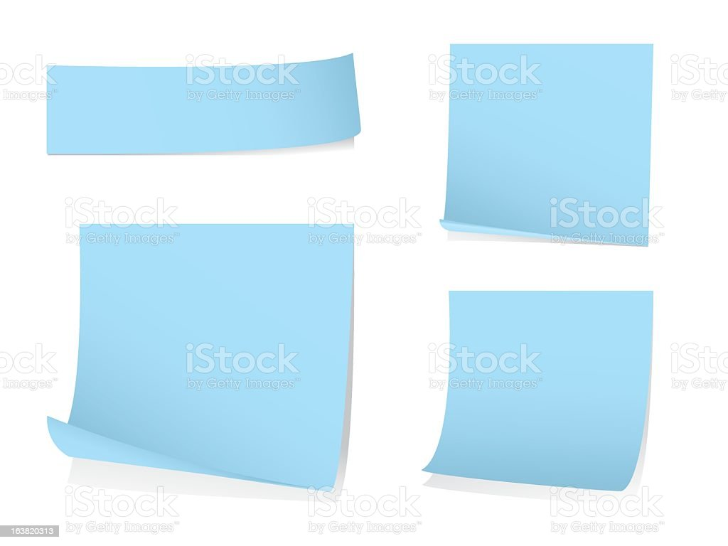 Sticky blue note papers in different sizes royalty-free stock vector art