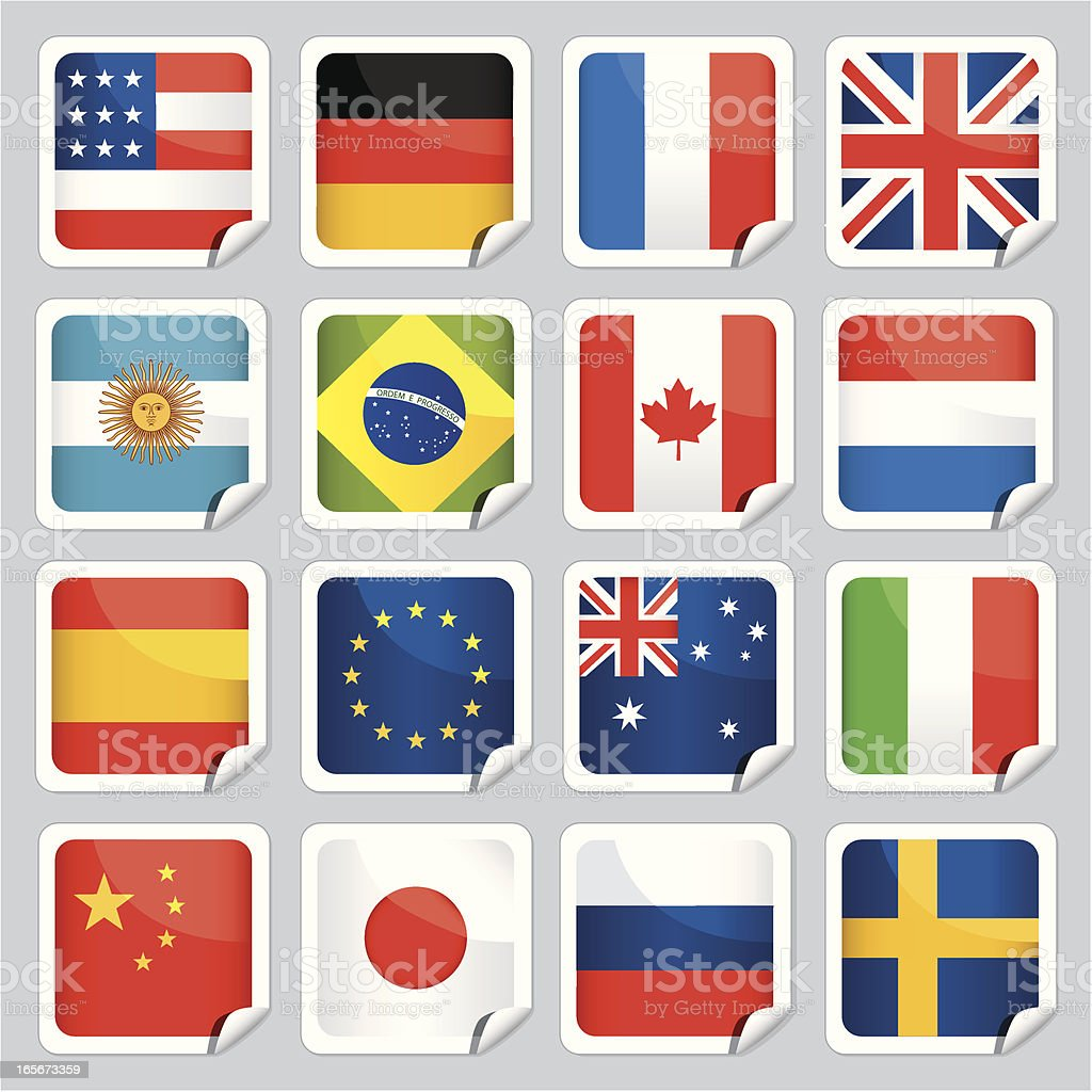 Sticky flags of the world royalty-free stock vector art