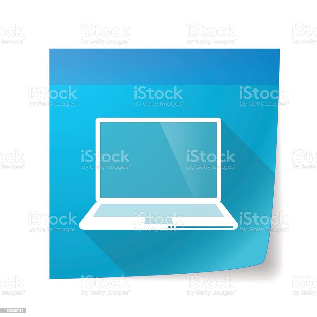Sticky note icon with a laptop vector art illustration