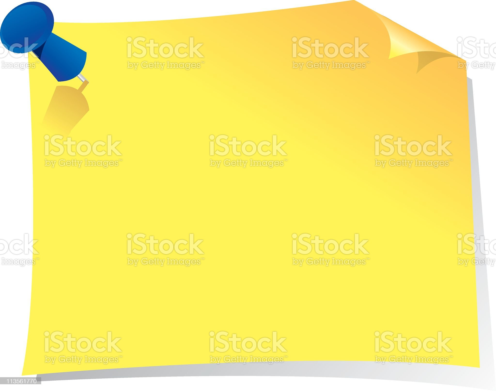A sticky note on a white background royalty-free stock vector art