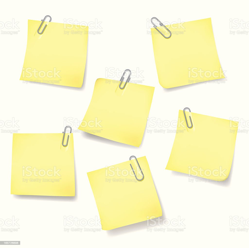 Sticky Note With Paper Clips royalty-free stock vector art