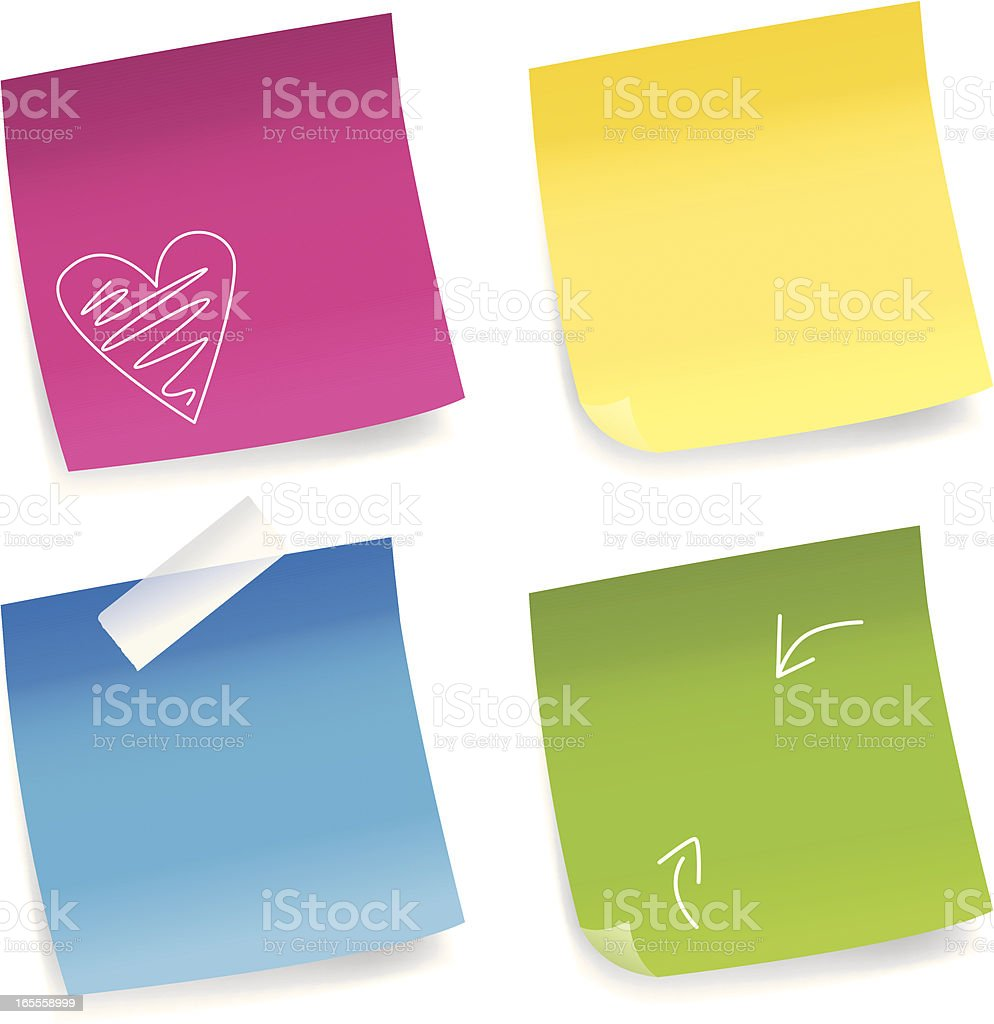 Sticky post-it notes vector art illustration