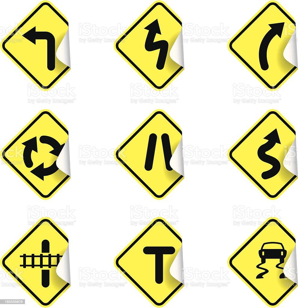 Sticky road signs | warning vector art illustration