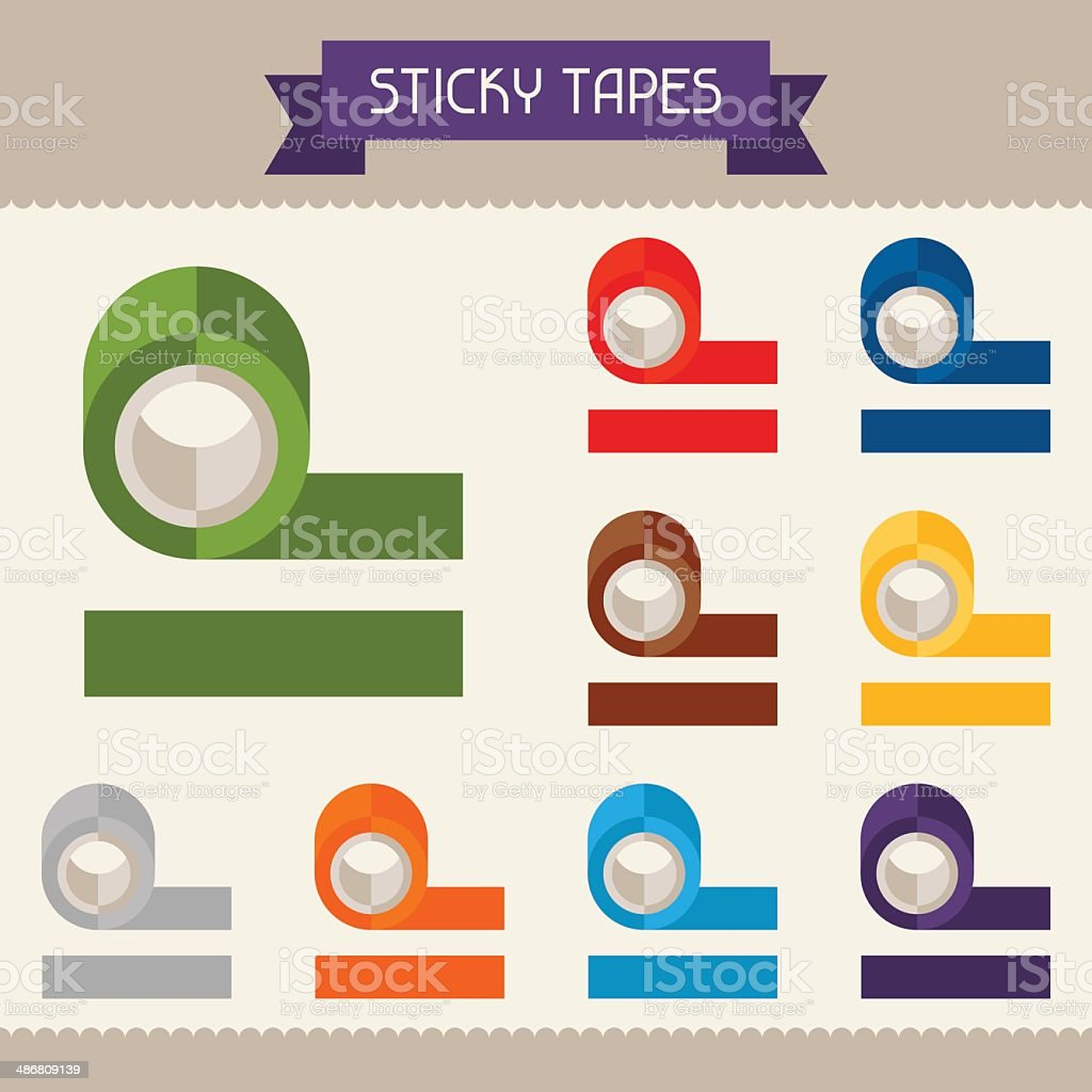 Sticky tapes colored templates for your design in flat style. vector art illustration