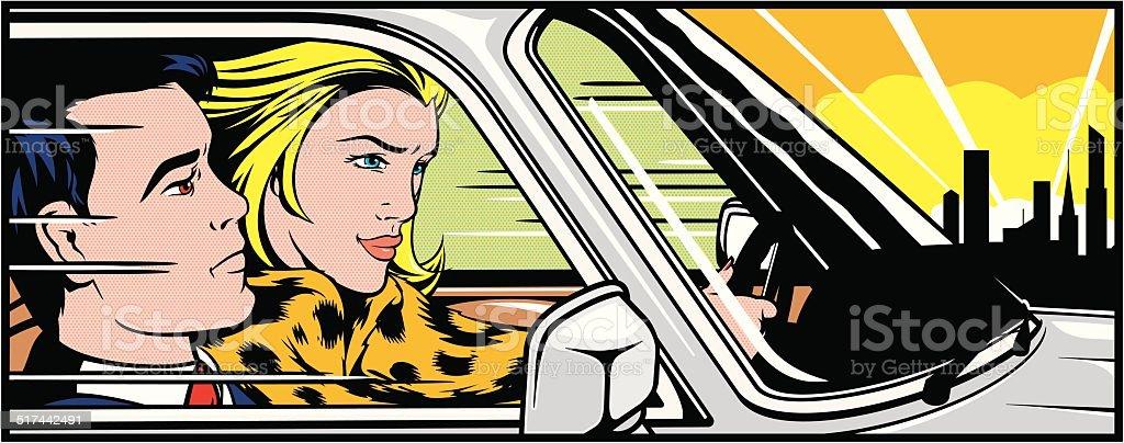 Woman driving a man around vector art illustration