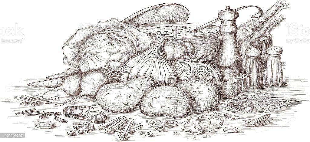Still life of food ingredients vector art illustration