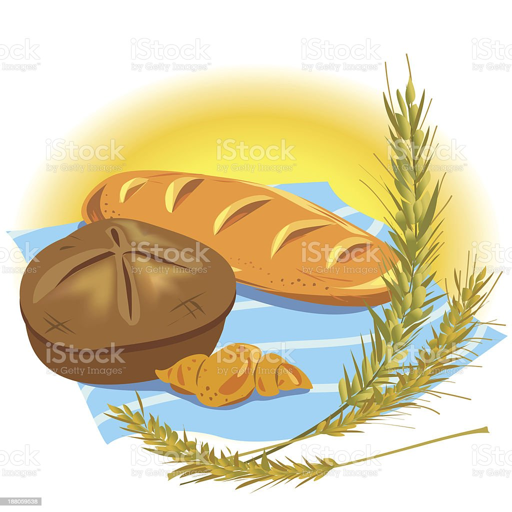 still life with bread products royalty-free stock vector art