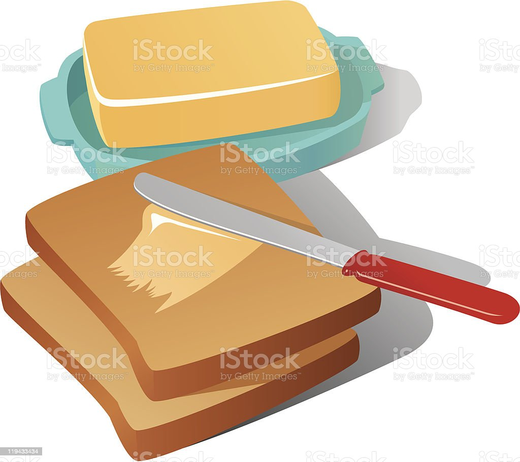 Still life with butter vector art illustration