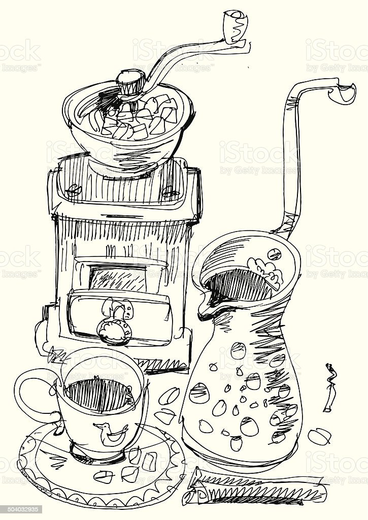 still life with coffee vector art illustration