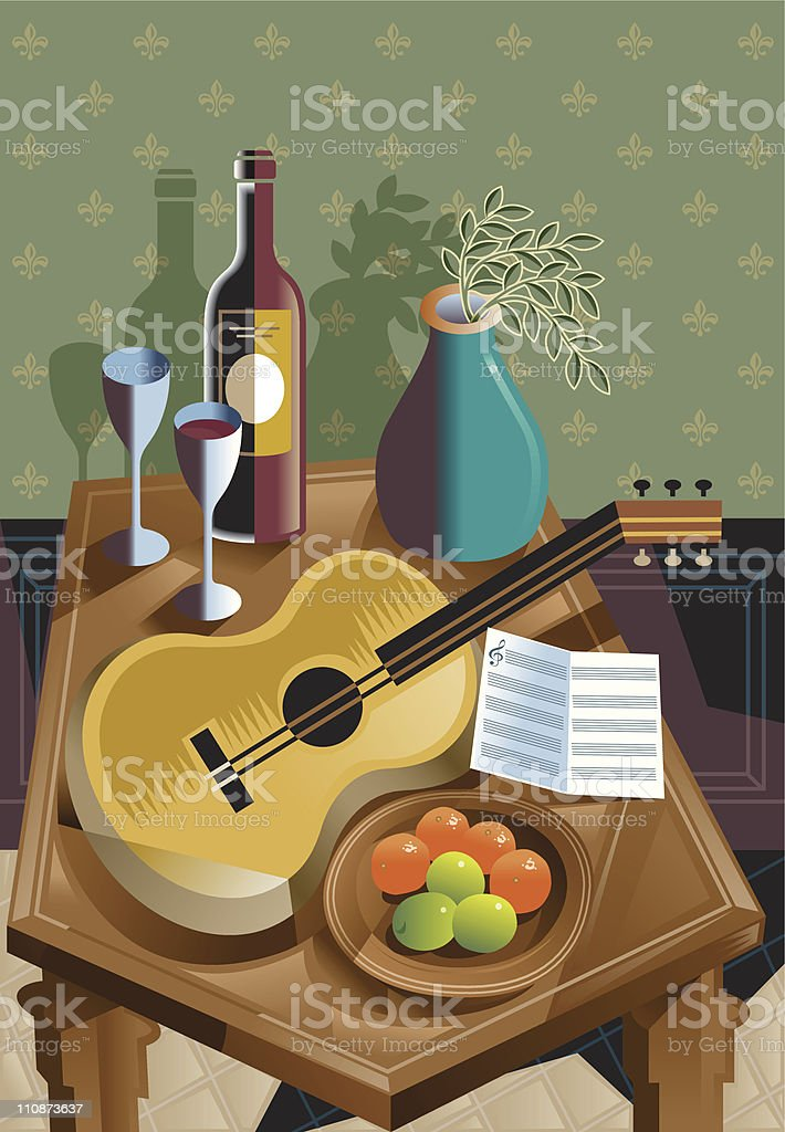 Still life with guitar royalty-free stock vector art