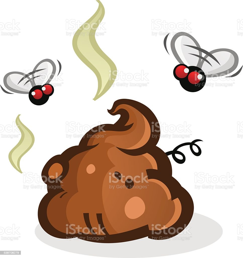 Stinky Poop Pile with Flies Cartoon vector art illustration