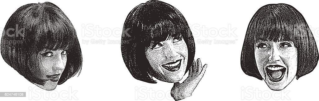 Stipple illustration of a woman making faces vector art illustration
