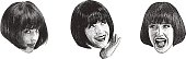 Stipple illustration of a woman making faces