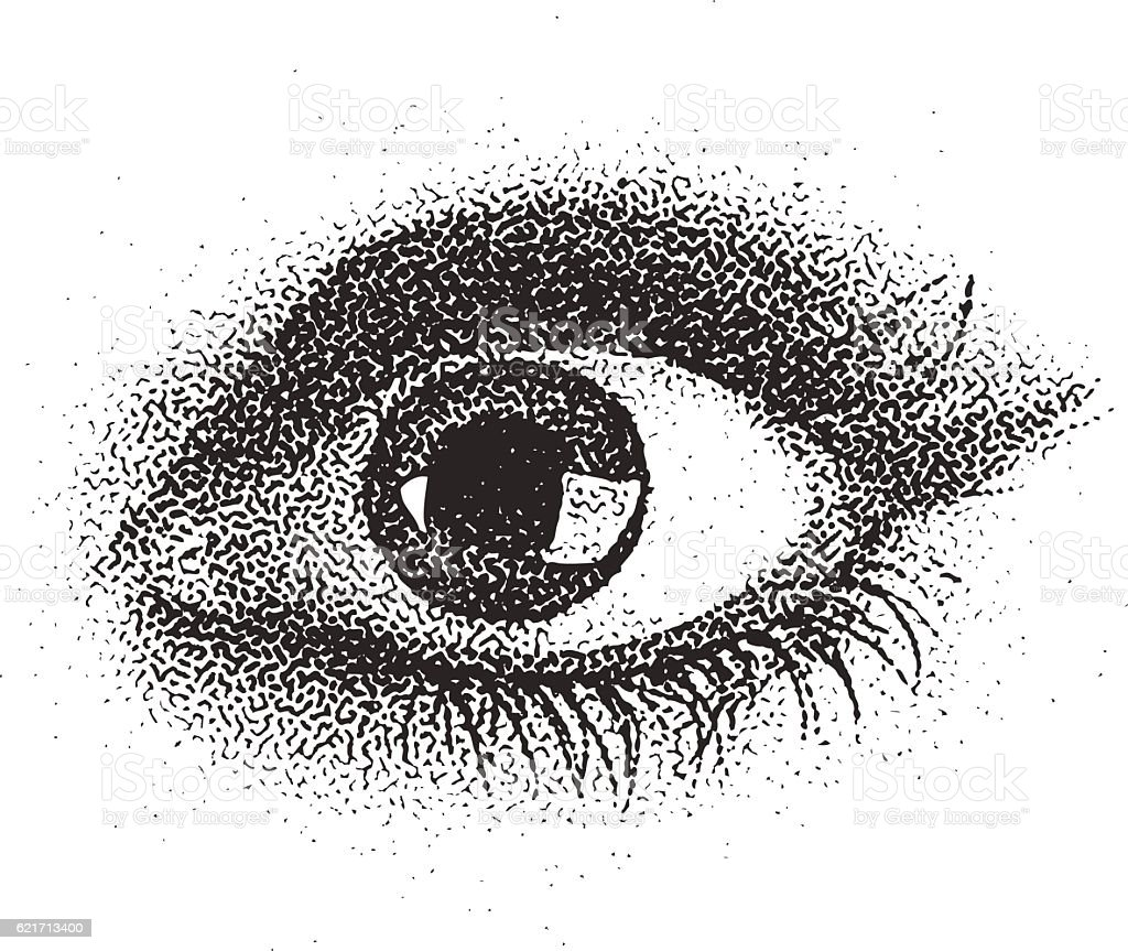 Stipple illustration of a young woman's eye vector art illustration
