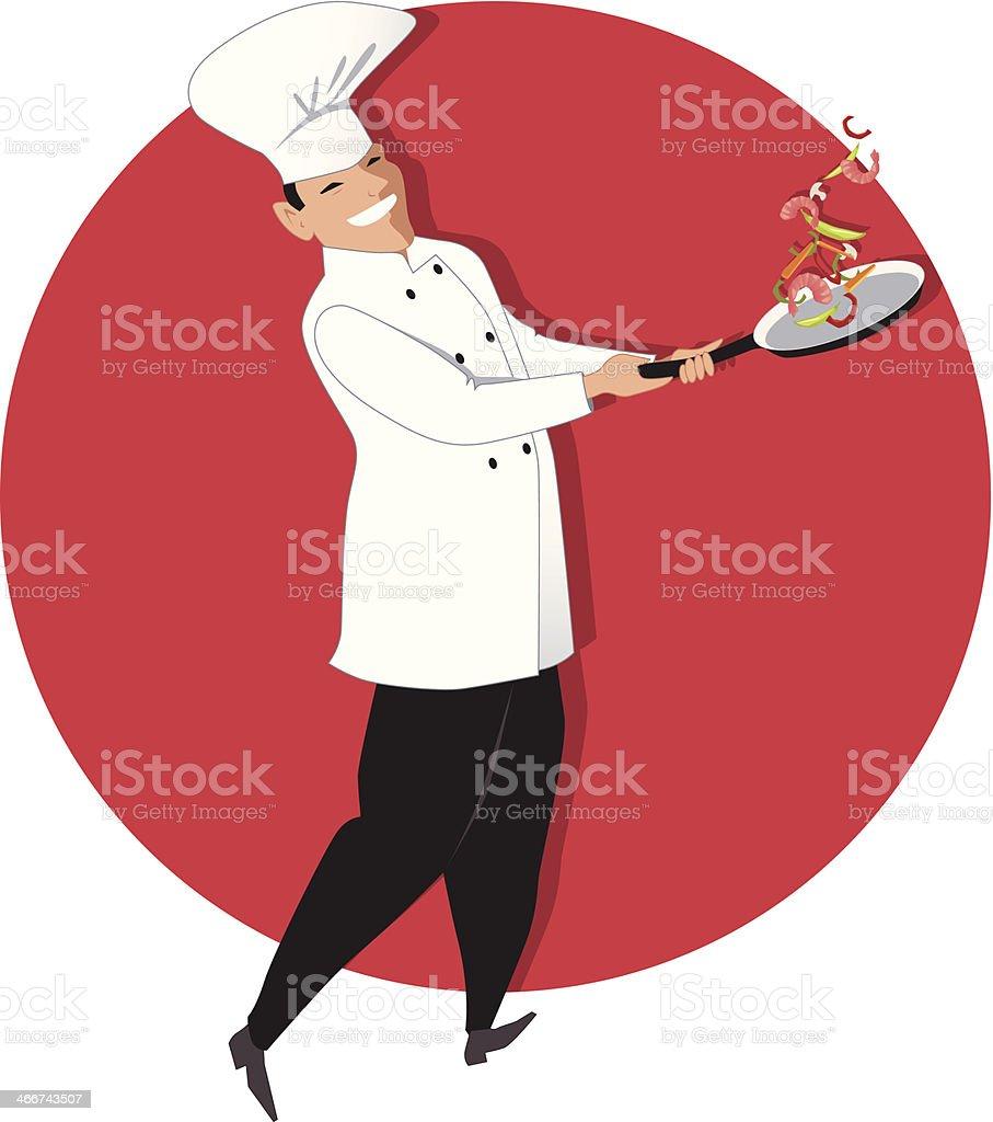 Stir-frying chef royalty-free stock vector art