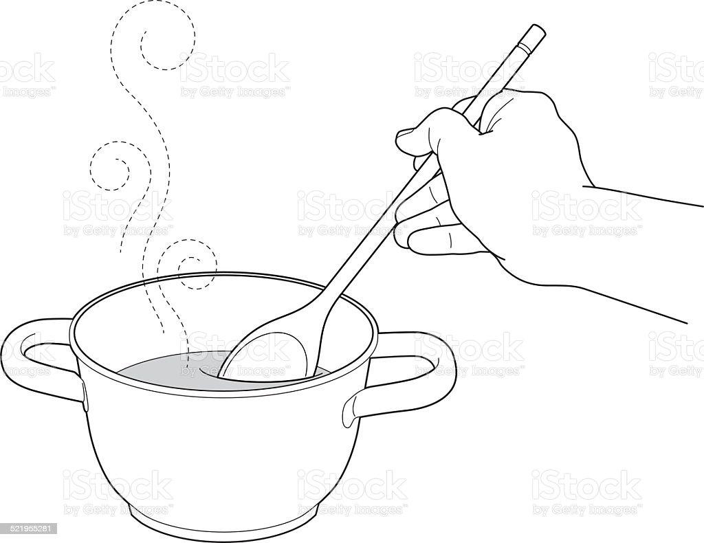 Stirring soup in a pot vector art illustration