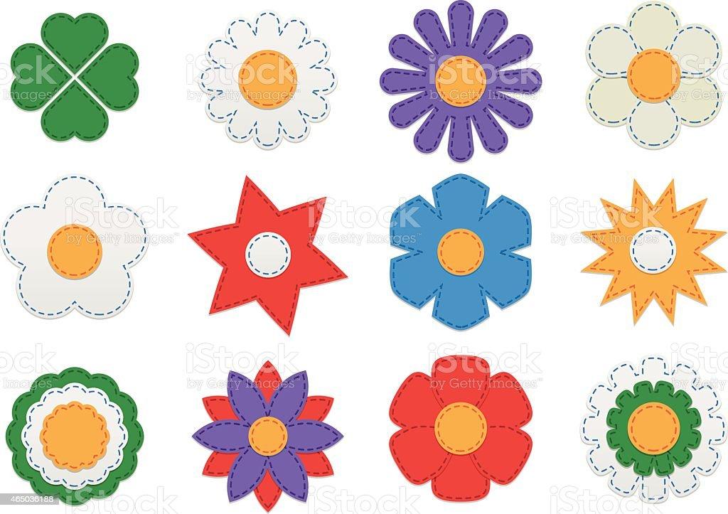 Stitched flowers vector art illustration