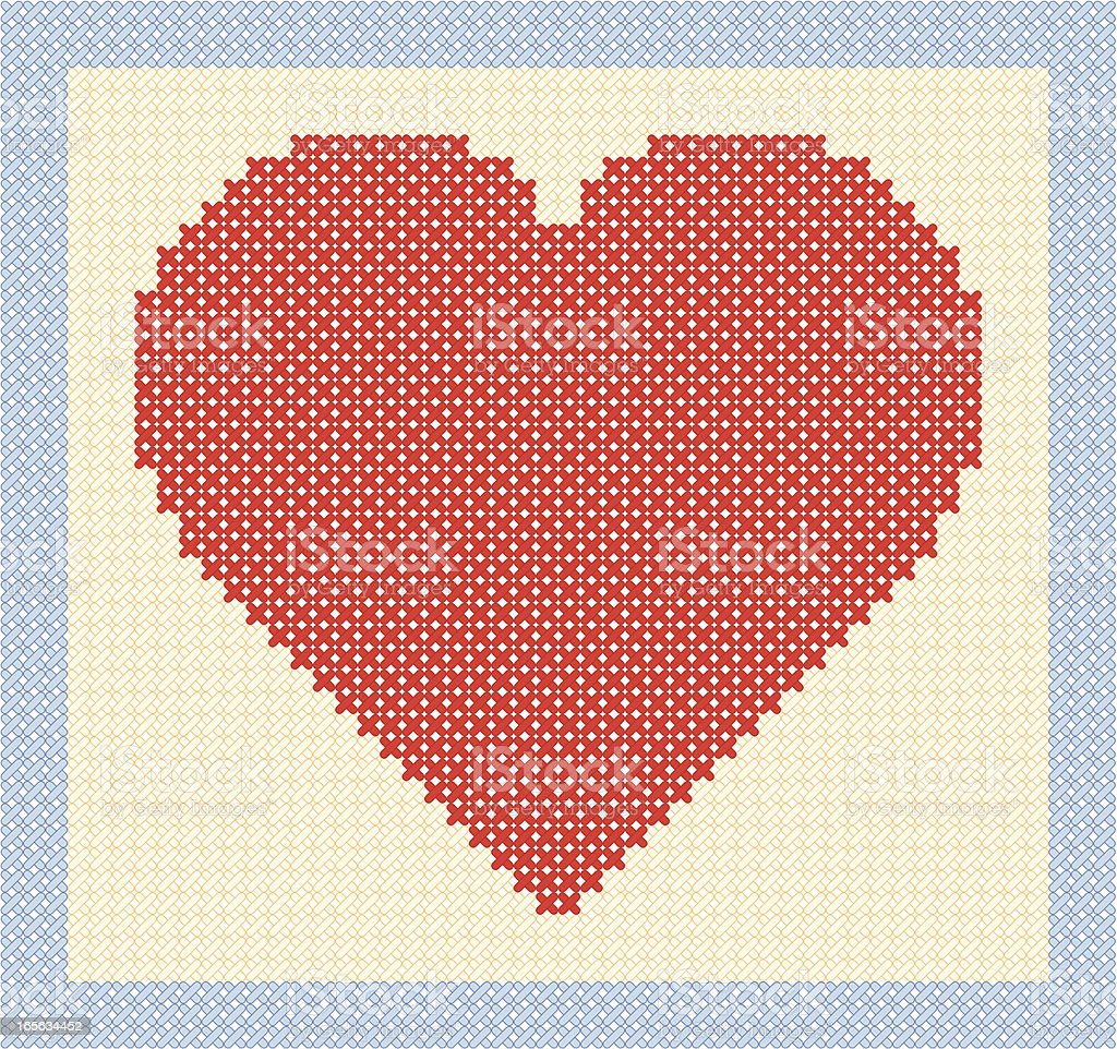 Stitched Heart royalty-free stock vector art