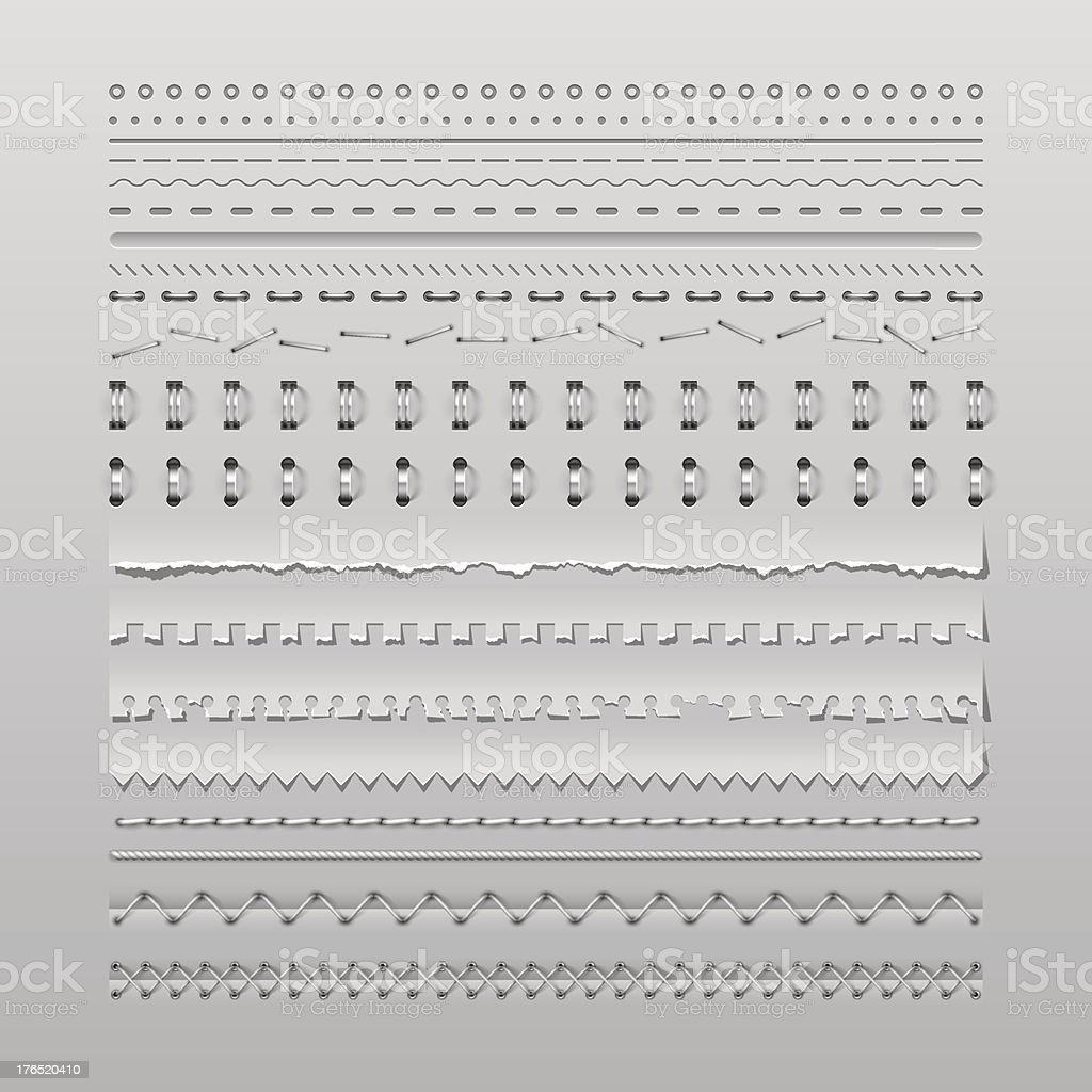 Stitches and dividers vector art illustration