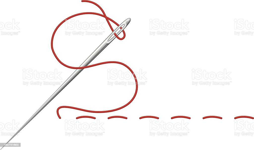 stitching needle vector art illustration
