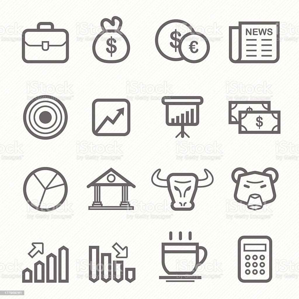 stock and market symbol line icon set vector art illustration
