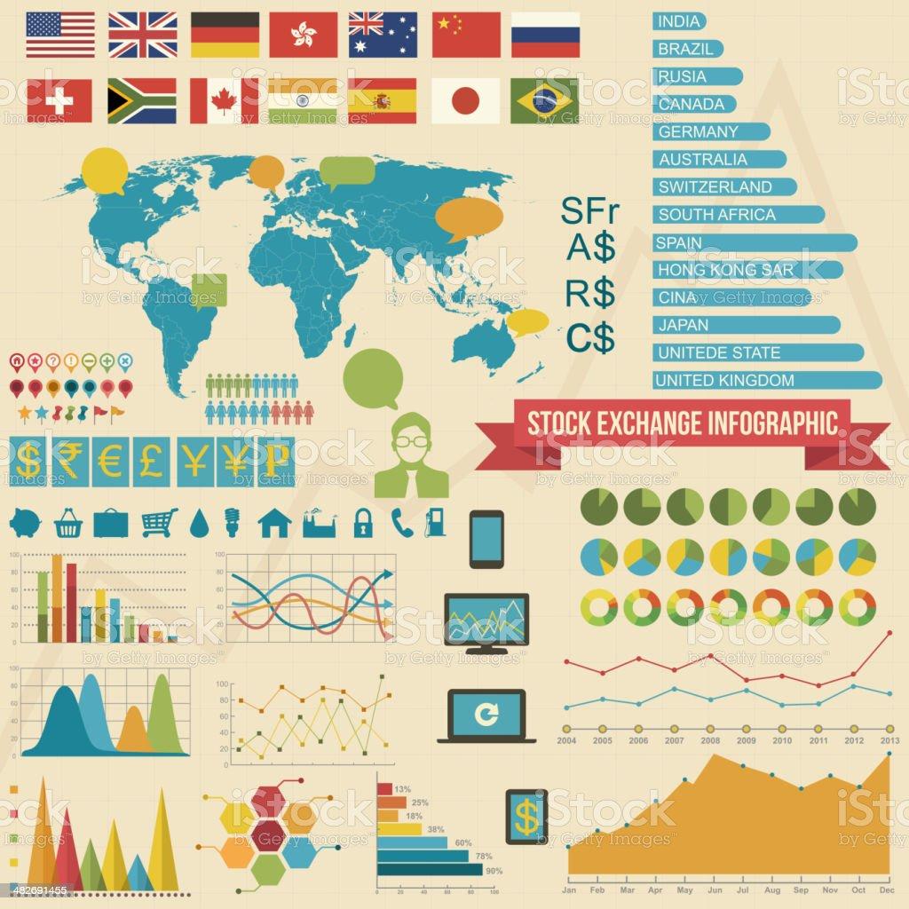 Stock Exchange Infographic Elements royalty-free stock vector art