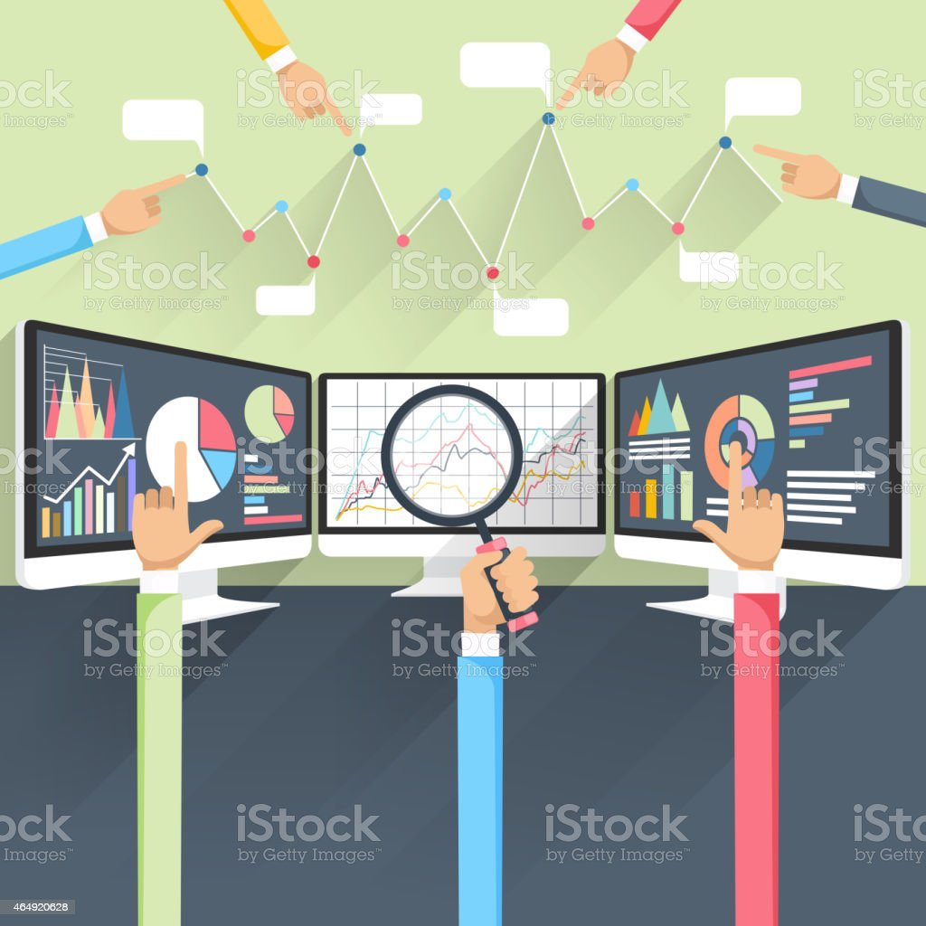 Stock exchange rates on monitors vector art illustration