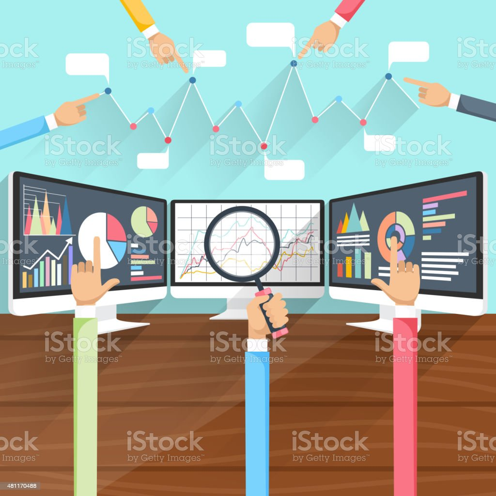 Stock Exchange Rates on Monitors with Hands vector art illustration