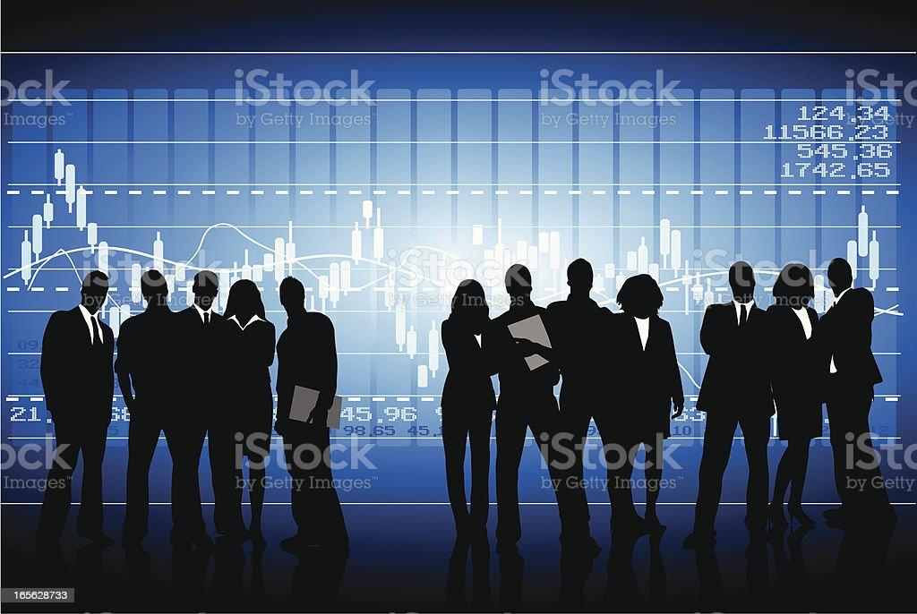 Stock exchange team vector art illustration